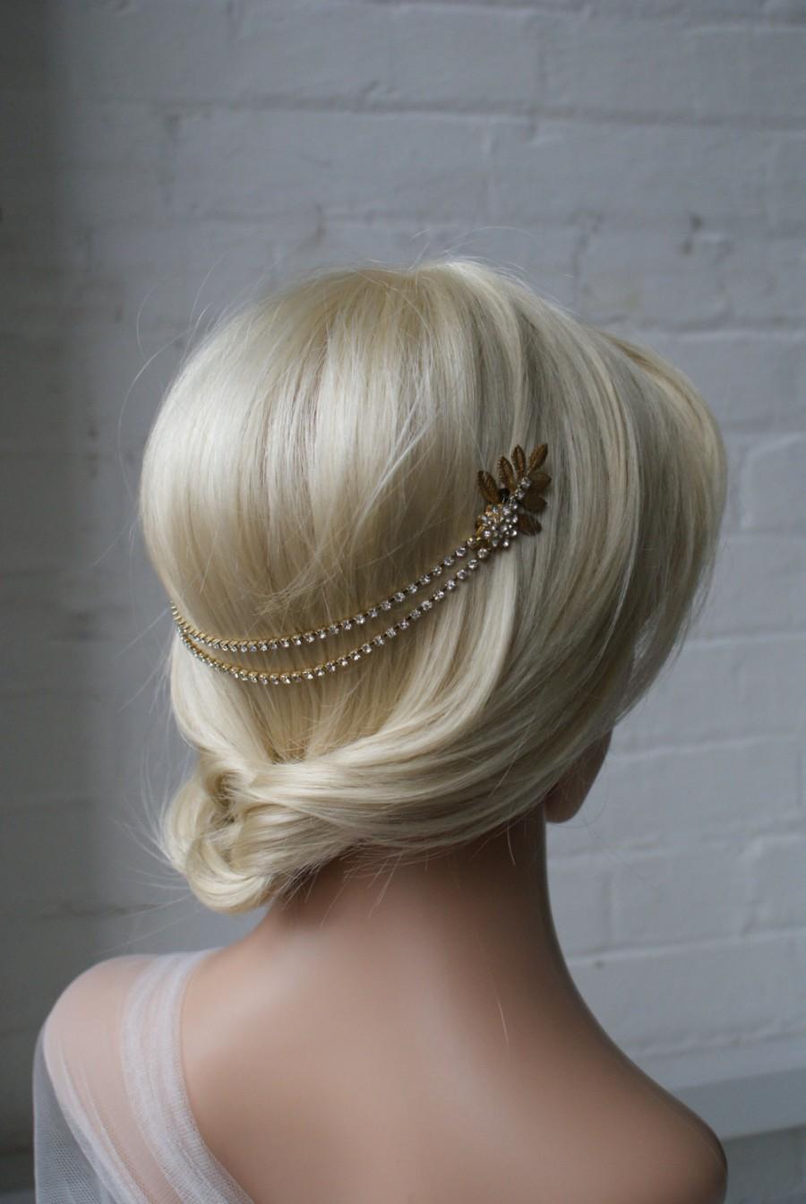 Wedding - Wedding Headpiece -Gold Bridal hair accessory -back head drape Head-chain - Bohemian Headpiece UK