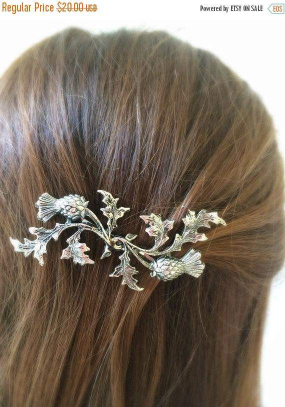 Mariage - SALE Silver Scottish Thistle Hair Pin leaf Bobby Pin Bridal Hair Pin Bridal Hair Clip Accessory Scottish Pin Woodland Wedding SOLDERED NOT G