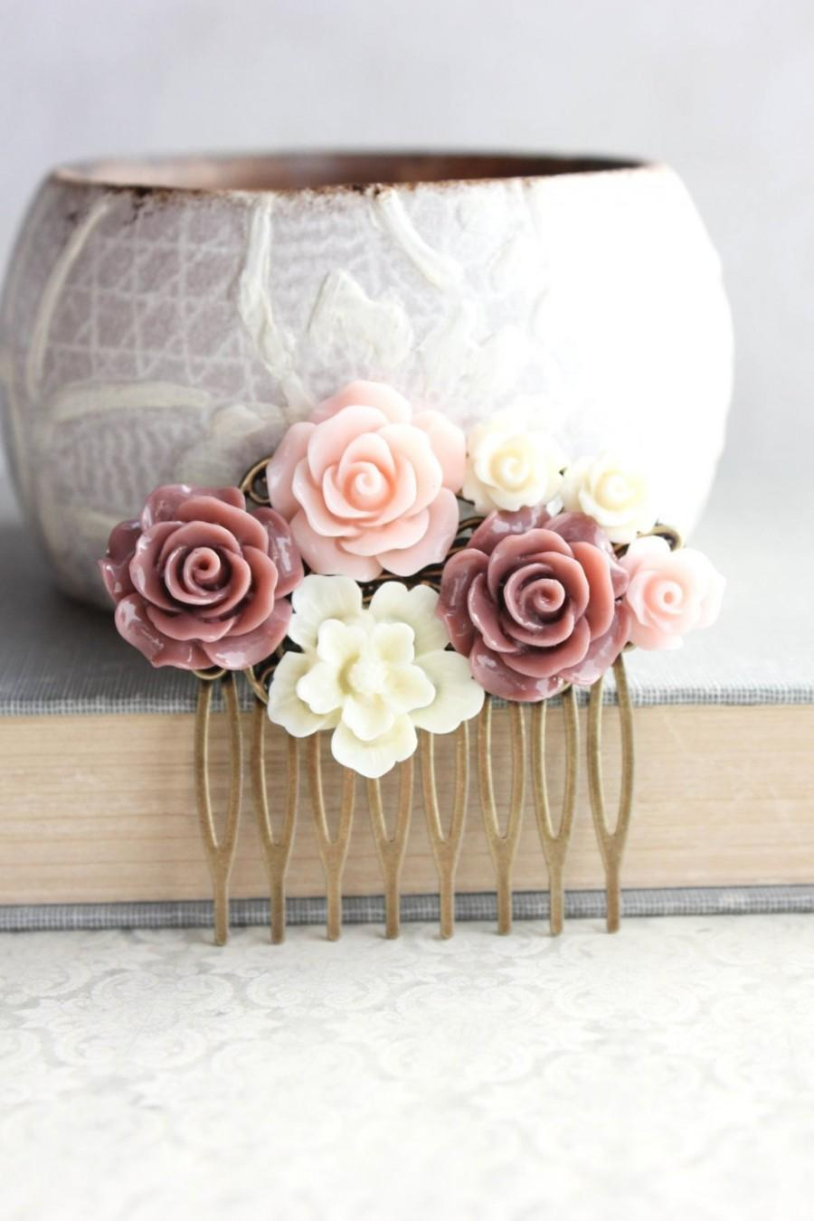 Mariage - Blush Pink Rose Hair Comb Dark Dusty Rose Floral Collage Romantic Bridal Shabby Country Bridesmaid Gift Summer Wedding Vintage Style