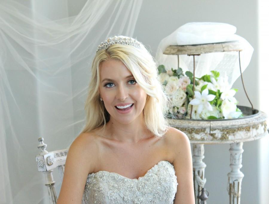 Свадьба - Edwardian Pearl Bridal Tiara, JESSAMINE Edwardian Pearl Tiara, Diamante Tiara, Pearl Wedding Tiara, Swarovski Crystal Edwardian Bridal Tiara