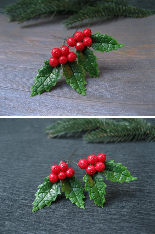 Свадьба - Winter hair pins Christmas wedding hair accessory Holiday gift ideas Xmas hair pins Holly hair pins New years wedding hair pin Xmas gift