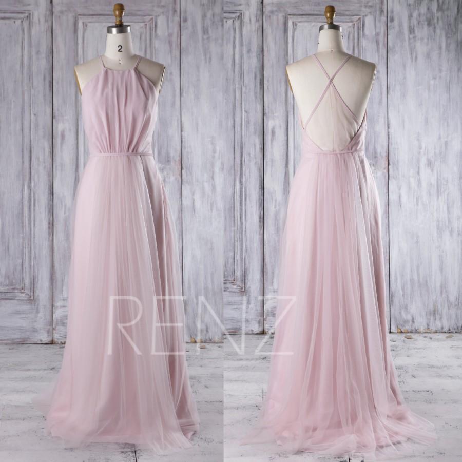 a9214d2da42ba 2016 Pink Mesh Bridesmaid Dress Long