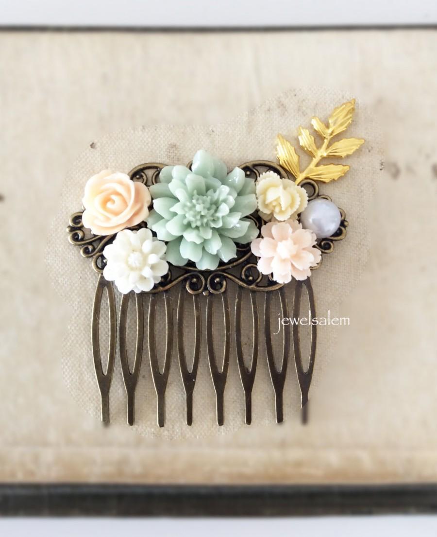Свадьба - Mint Peach Wedding Seafoam Sage Green Light Cream Blush Romantic Floral Headpiece Flower Hair Slide Custom Bridal Comb Quaint Eclectic Chic