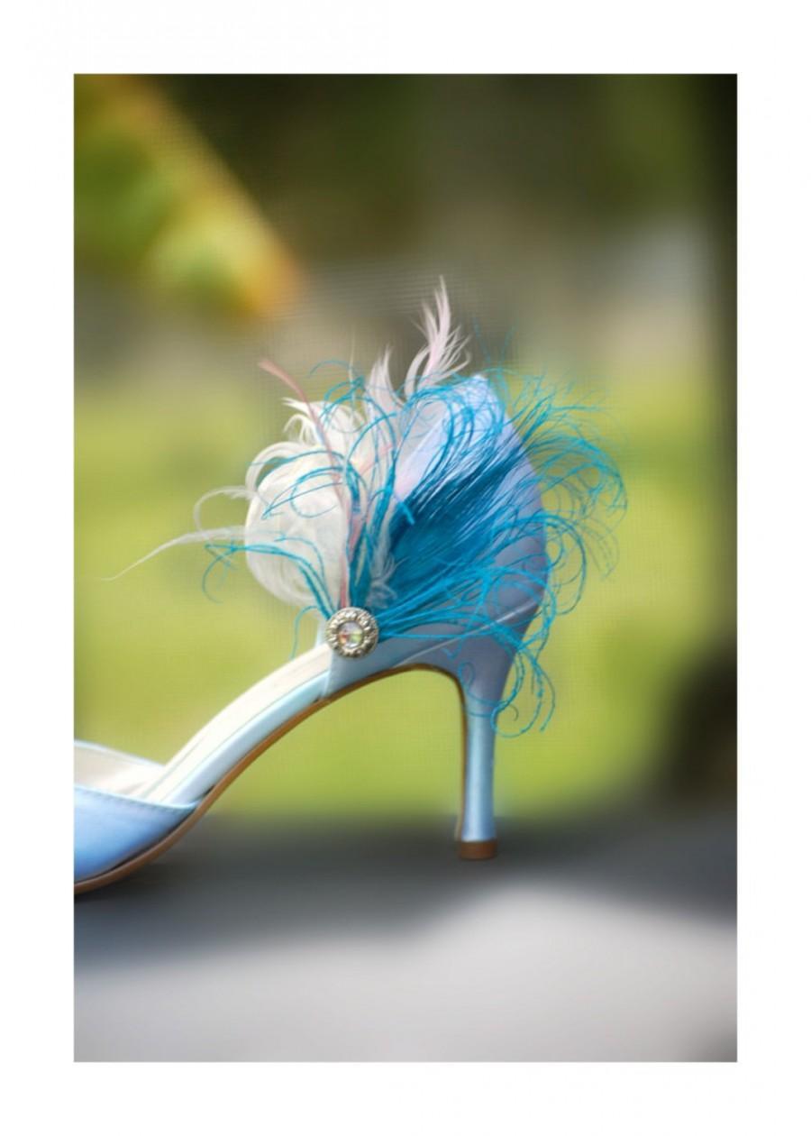Свадьба - Something Blue Shoe Clips. Turquoise Peacock Feather & Rhinestone Gem. Ivory Rose. Wedding Bride Bridal Bridesmaid Gift, Statement Edgy Bold
