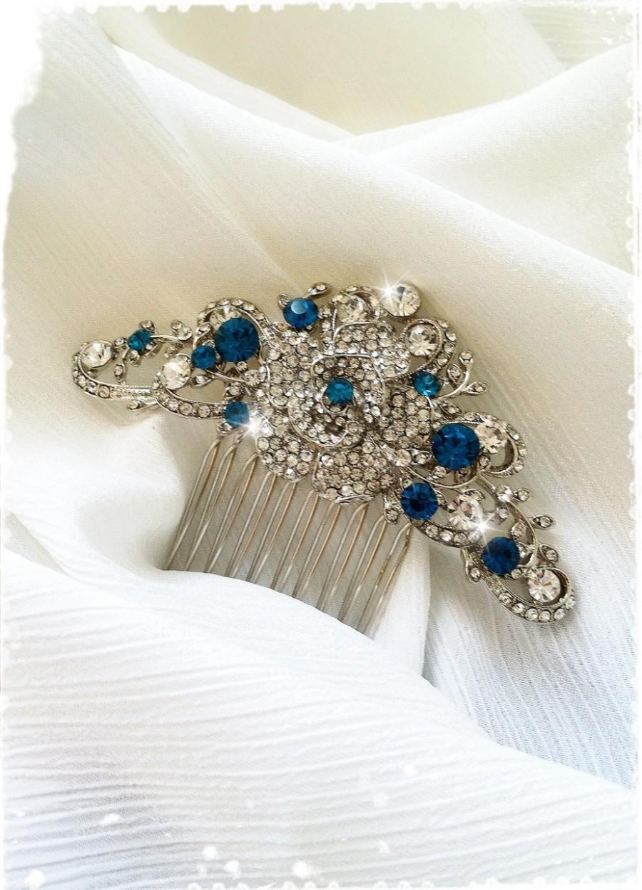 "Свадьба - Vintage Inspired Blue Crystal Rose Wedding Hair Comb-Swarovski Crystal Wedding Hair Accessories-Bridal Victorian Rhinestone Comb-""ROSINE"""
