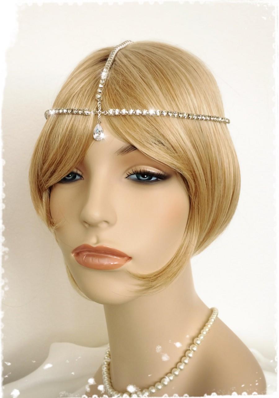 "Свадьба - Gatsby Inspired Crystal Headpiece-1920s Art Deco Wedding Forehead Chain-Boho Bridal Rhinestone Hair Wrap-Flapper Head Chain-""CLAUDETTE"""
