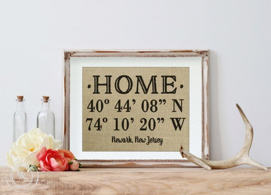 Burlap house warming gift latitude longitude sign for New home sign
