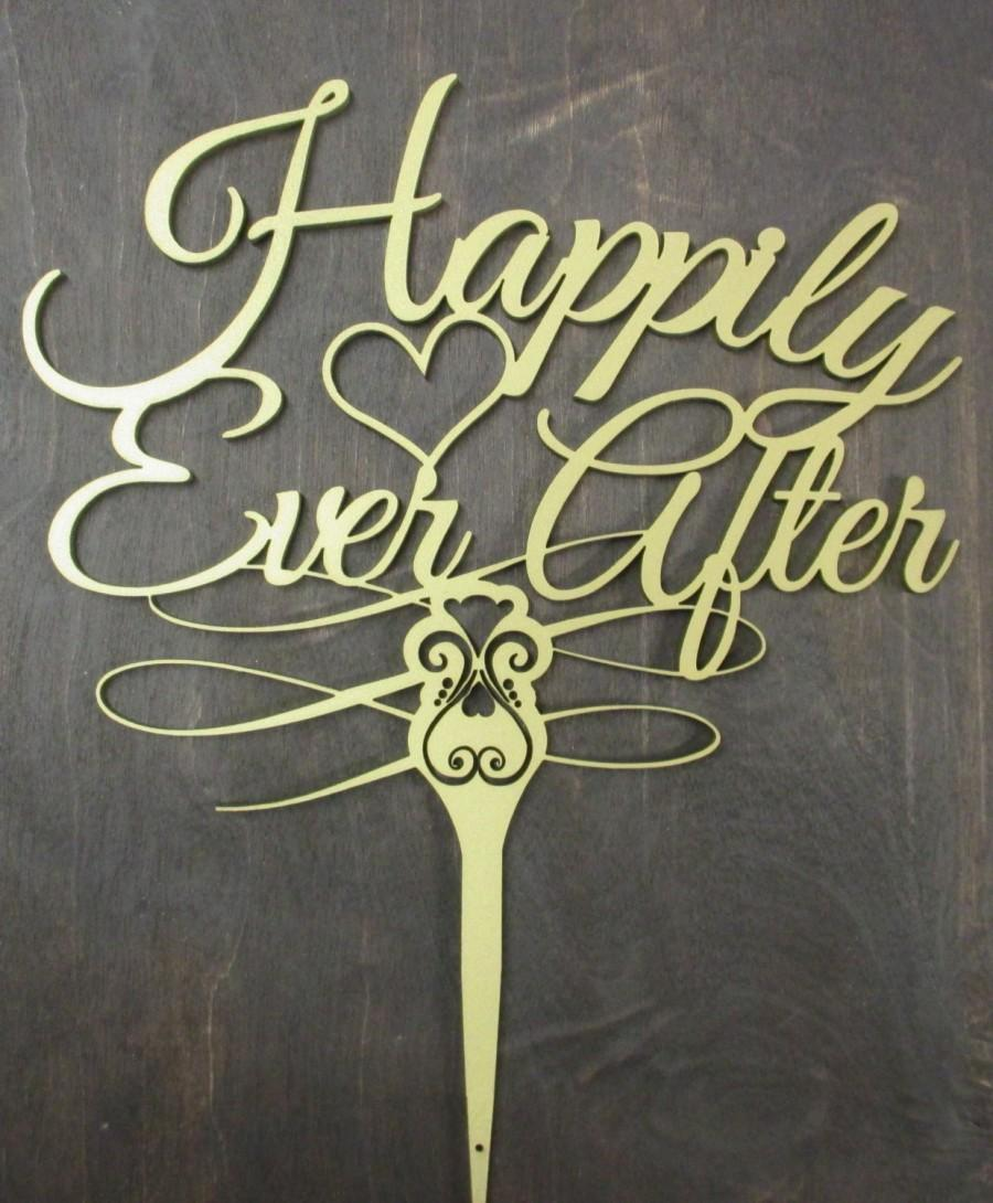 Свадьба - Happily Ever After Wedding Cake Topper Metallic Gold Fancy Cake Top Saying Wedding Sign Cake Decor Wedding Cake Decoration Ever After Cake