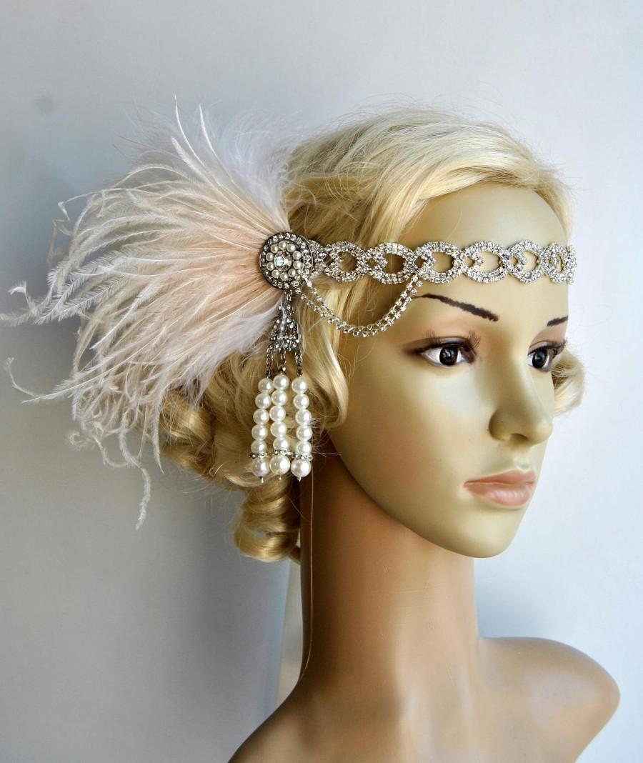 Mariage - The Great Gatsby 20's rhinestone pearls 20's flapper Headpiece headband, Bridal Headband, Crystal Ribbon Headband