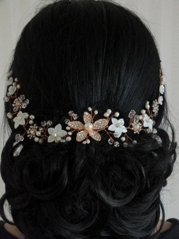 Mariage - Floral Fantasy - Mother Pearl  Flower, Freshwater Pearl,Rhinestone Flower and Crystal Rose Gold Bridal Hair Vine