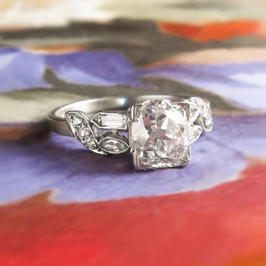 Wedding - Vintage Retro Estate 1940's Old European Cushion Cut Diamond Platinum Engagement Bridal Wedding Ring
