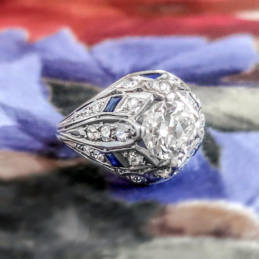 Свадьба - Art Deco Vintage 1930's Old European Cut Diamond and Lab Sapphire Engagement Anniversary Cocktail Platinum Ring