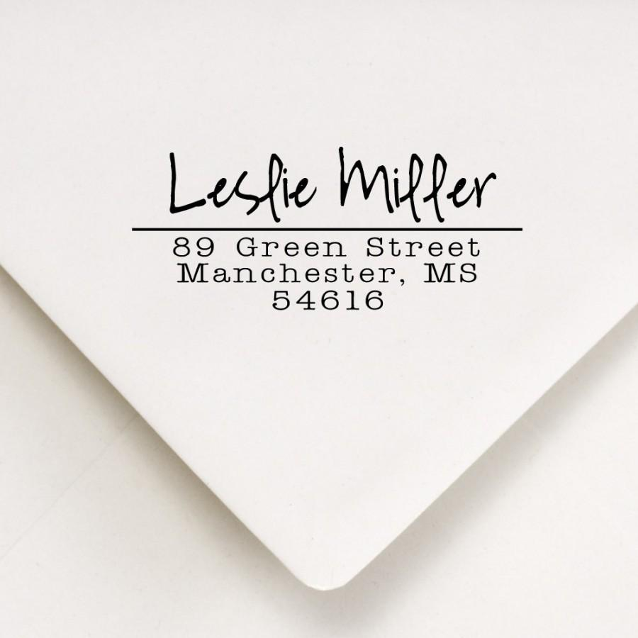 Wedding - Custom Rubber Address Stamp - Cute Housewarming Gift - Wedding Invitations, Thank You Stamp - Leslie Miller Design