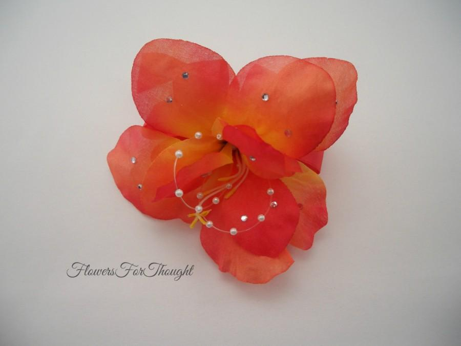 Mariage - Coral Flower Corsage with Pearls Rhinestones, Tropical beach wedding decoration, Bridal Party gift