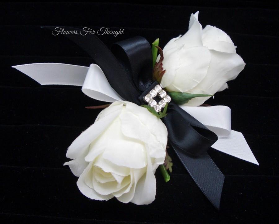 Mariage - White Rose Corsage, FFT Original Design, Black Ribbon Silk Wedding Flowers Mother of Bride or Groom Rhinestone Accent Elegant, Made to Order