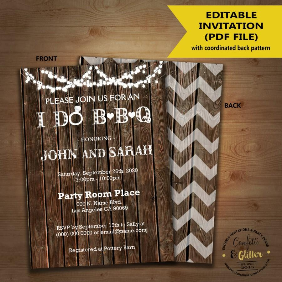 Hochzeit - I do BBQ Invitation wood rustic couples shower engagement party invite DIY self editable printable customizable invitation 5130