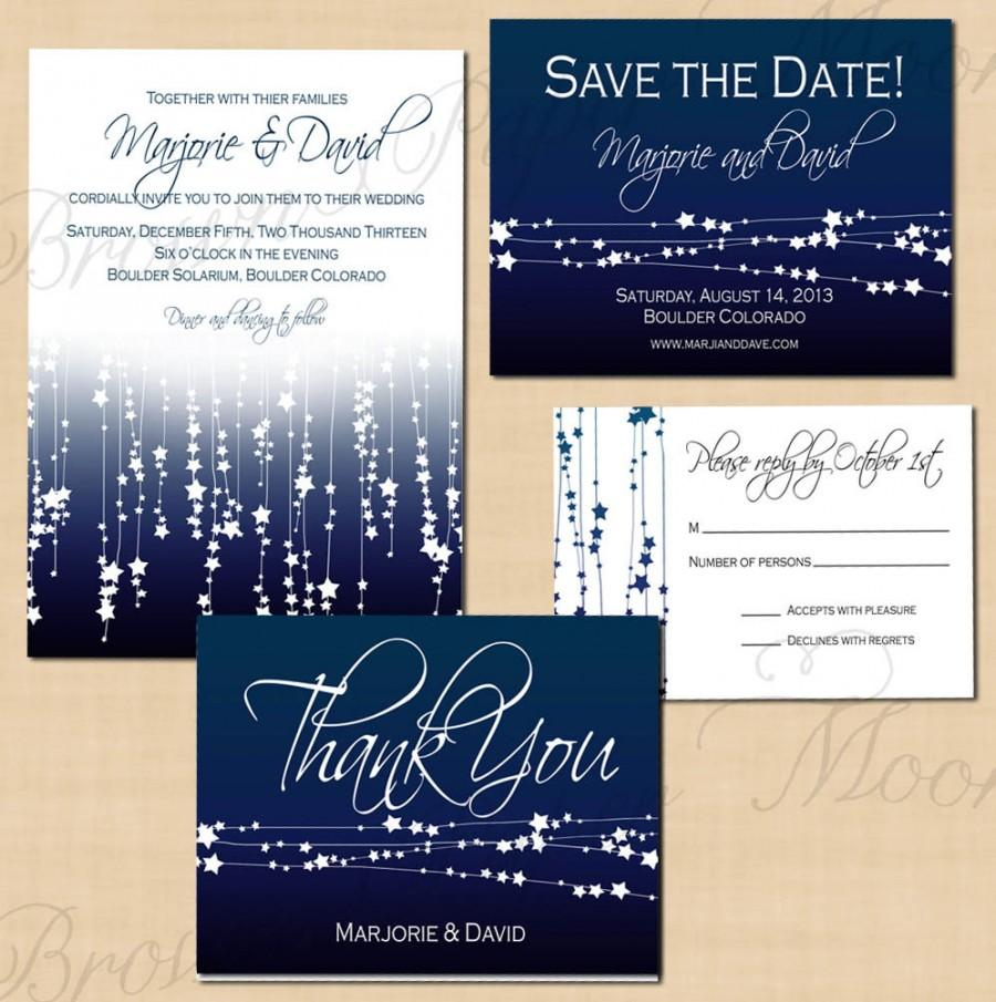 Wedding - Midnight Blue Star Streamers Save the Date, Invitation, RSVP, and Thank You Package: Text-Editable, Printable, Instant Download