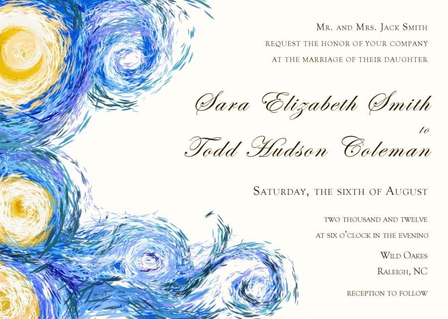Starry Night Digital Wedding Invitation Van Gogh 2620186 Weddbook