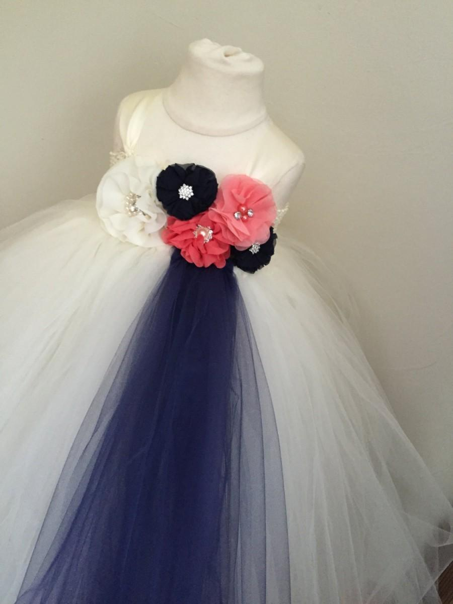 Wedding - ivory, navy and coral girls tulle dress, navy and coral flower girl dress, navy and coral wedding, girls coral dress, coral wedding