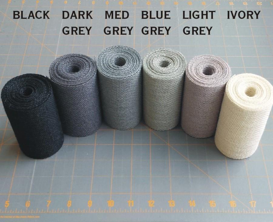 Mariage - 4 inch GREY BLACK or IVORY Burlap Ribbon