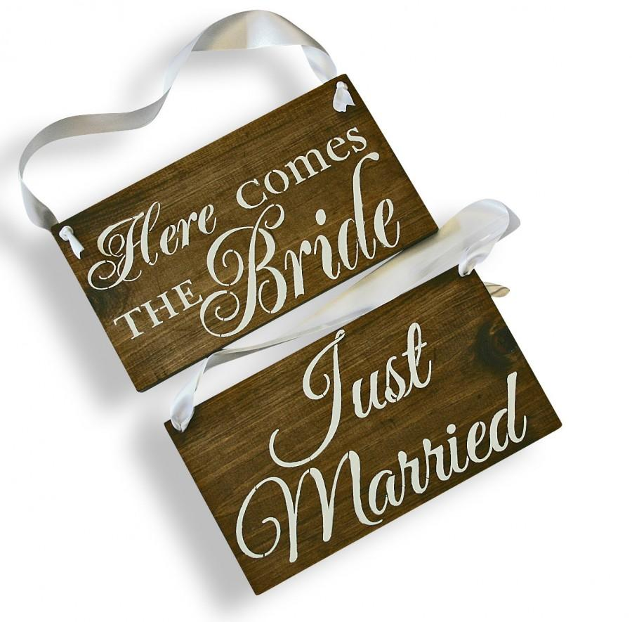 Mariage - REVERSIBLE Here comes the Bride Sign DOUBLE SIDED Just Married Rustic Wedding Wood Sign Wooden Signs