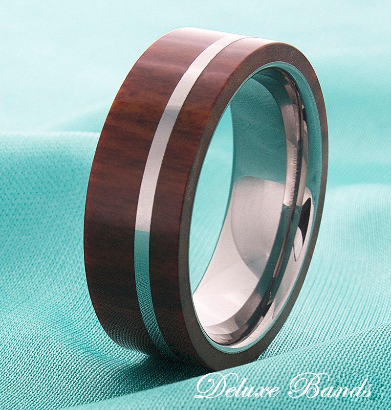 Mariage - Wood Inlay Mens Tungsten Wedding Ring Tungsten Wood Band Mens Fashion Wood Ring Mens Wood Inlay Ring Modern Classic Wood Laser Ingraved Ring