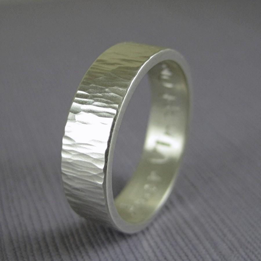 Engravable Hammered Wedding Band Custom Silver Personalized Mens Tree Bark Ring Made Handmade