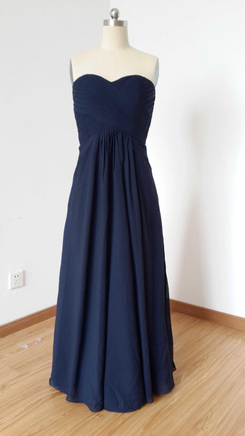 Wedding - 2015 Sweetheart Navy Blue Chiffon Long Bridesmaid Dress