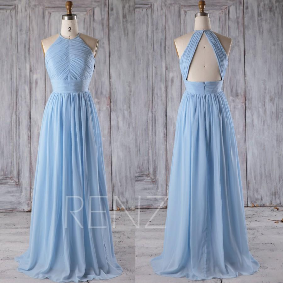 Wedding - 2016 Light Blue Bridesmaid Dress, Ruched Chiffon High Neck Wedding Dress, Long Prom Dress, High Neck Evening Gown Floor Length (J017C)