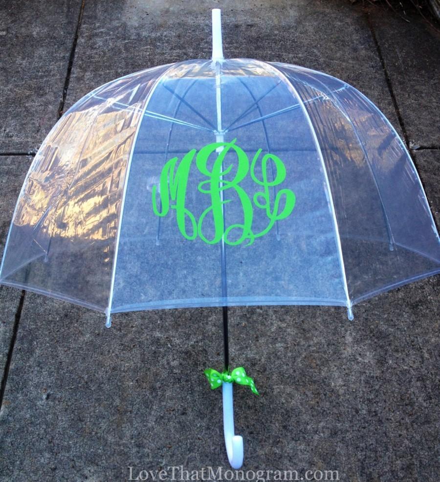 زفاف - SALE!!! Monogrammed Gift, Monogrammed Umbrella, Personalized Umbrella, Clear Dome Umbrella, Bridesmaid Gift, Shower Gift, Hostess Gift