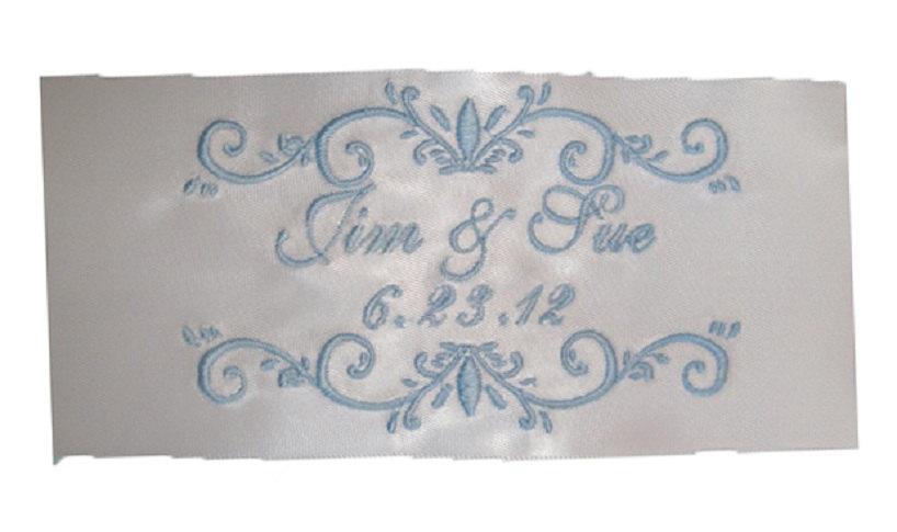 Hochzeit - Jennifer  Satin Ribbon Wedding Embroidered Personalized Gown Label - Diamond White