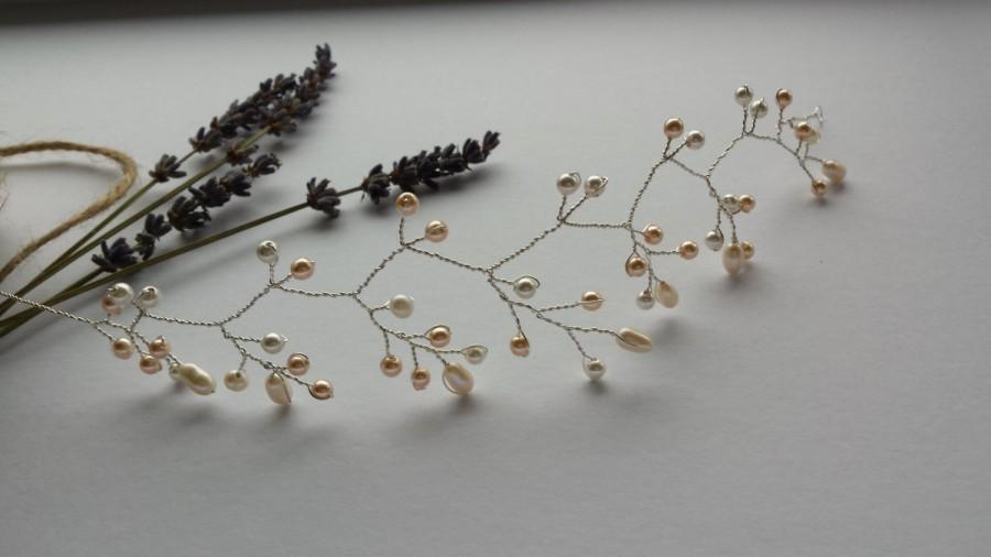 Mariage - Bridal hair vine, ivory and vintage rose pearl headpiece, pearl hair vine