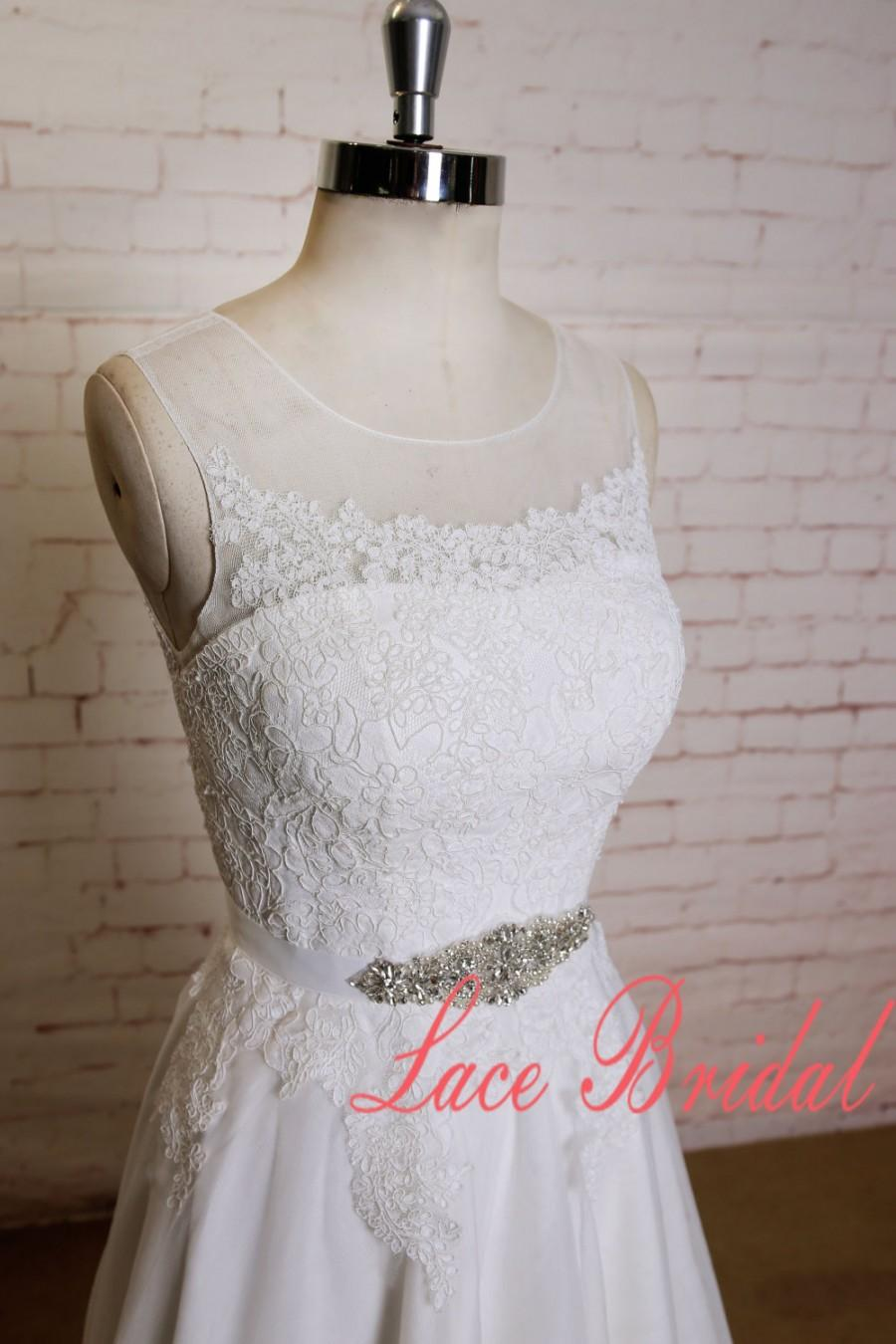 Wedding - Ivory Lace Bodice Wedding Dress with Illusion Neckline Sheer Back Bridal Gown with Beaded Belt A-line Style Wedding Dress with Chapel Train