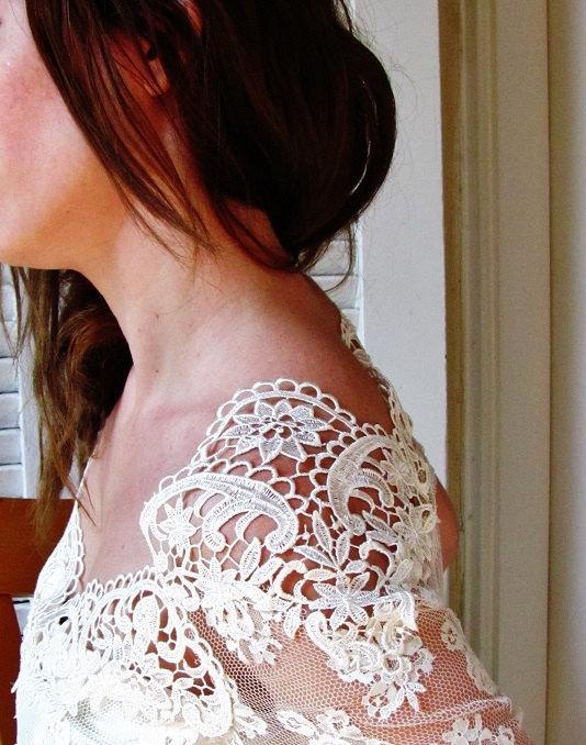 Свадьба - ART NECKLINE White Swan song IVORY bridal French lace top ivory lace blouse bridal bolero jacket wedding bolero
