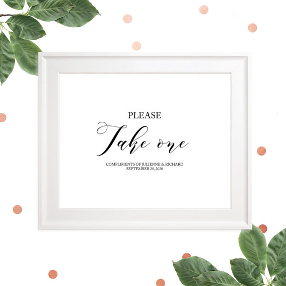 Wedding - Please take one Wedding Sign-Calligraphy Favors Sign-Fans Sign-Cupcakes Sign-Cigars Sign-Treats Sign-Custom-Printable-DIY-Wedding Decor