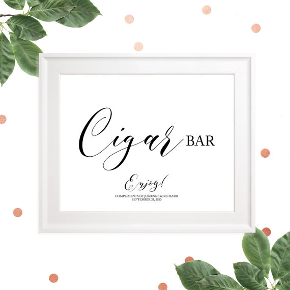 زفاف - Wedding Cigar Bar Printable Sign-Cigars-Rustic Wedding Sign-Custom Cigar Bar Sign, Calligraphy Style, DIY Wedding Sign, Elegant Wedding,