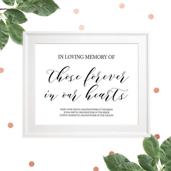 زفاف - In loving Memory of Those Forever in our Hearts Custom Sign-Reserved Memorial Wedding Sign-Printable Wedding Memorial Sign-Calligraphy Style