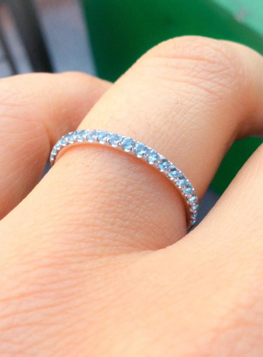 Wedding - 18K Aquamarine Half Eternity Band 1.6mm Aquamarine Infinity Ring 18K Aquamarine Matching Wedding Band 18K Light Blue Birthstone Stacking