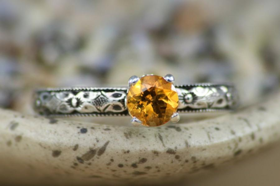 Wedding - Size 8 Citrine Solitaire Ring with Renaissance Diamond Band In Sterling - Silver Citrine Engagement or Promise Ring - Ready To Ship