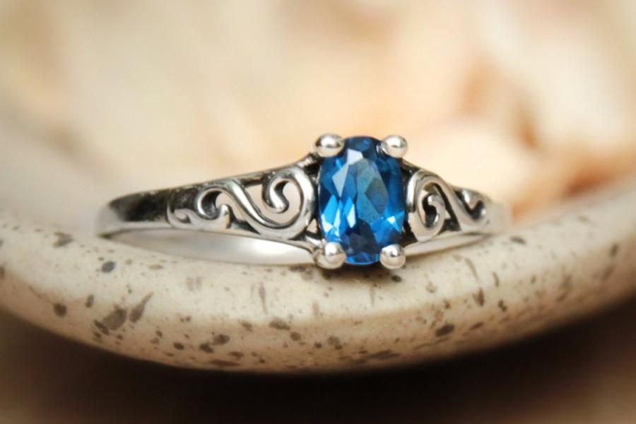 Wedding - Petite Oval Blue Sapphire Filigree Promise Ring in Sterling - Silver Vintage-Style Blue Sapphire Ring - September Birthstone RIng