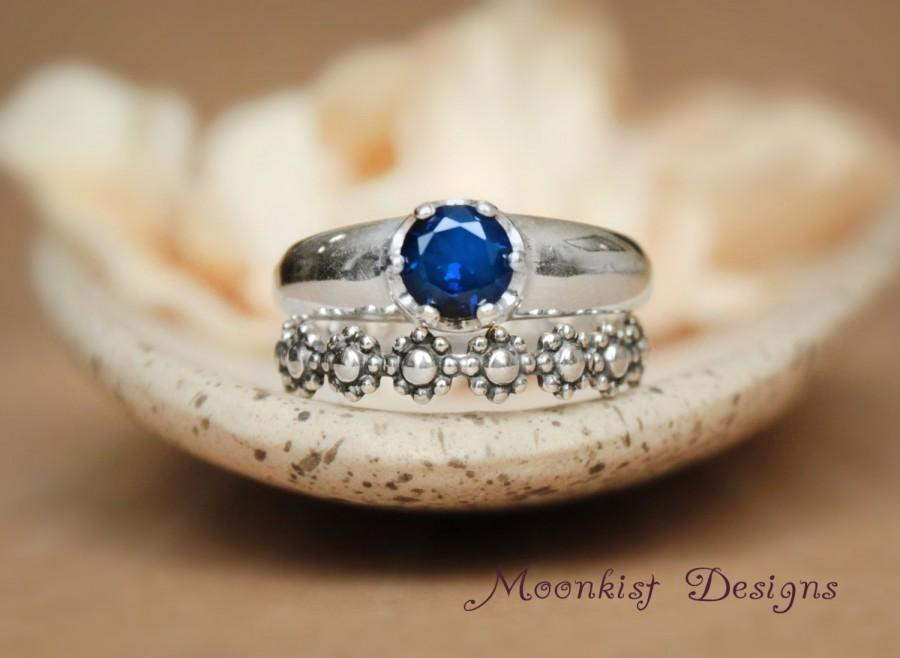 Wedding - Solitaire and Floral Wedding Band Set in Sterling Silver, Sapphire Engagement Ring Set with Daisy Chain Fitted Band, Floral Band Set