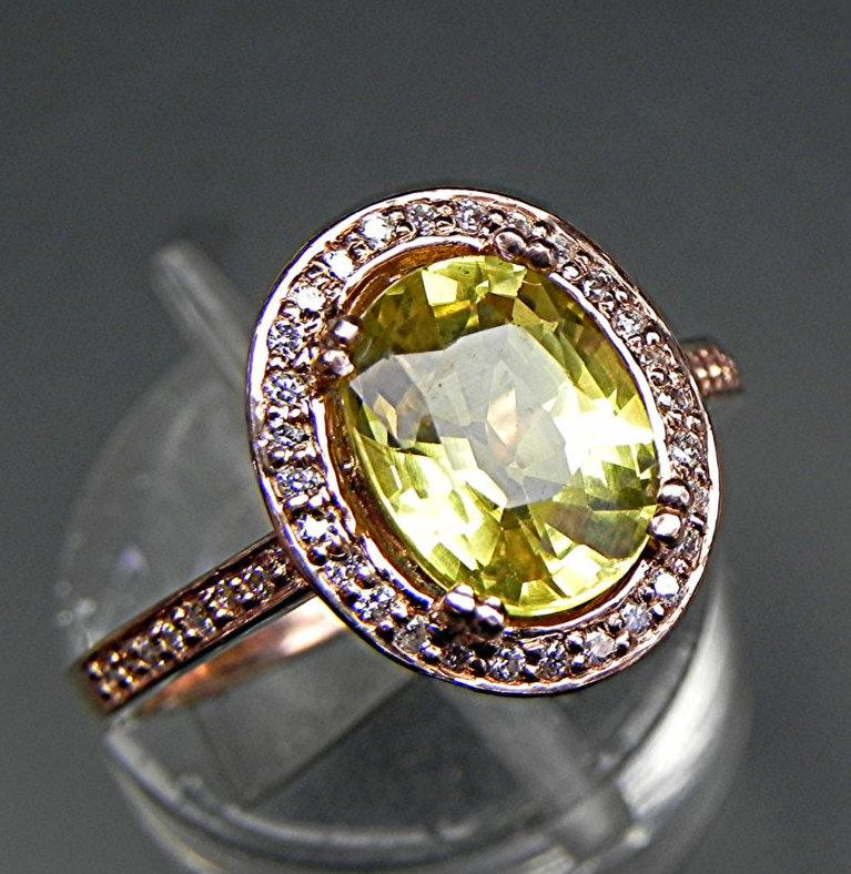 Wedding - AAA Canary Yellow sapphire 2.59 carats 9x7mm in a 14k ROSE gold Halo engagement ring with diamonds (.32ct) Ring