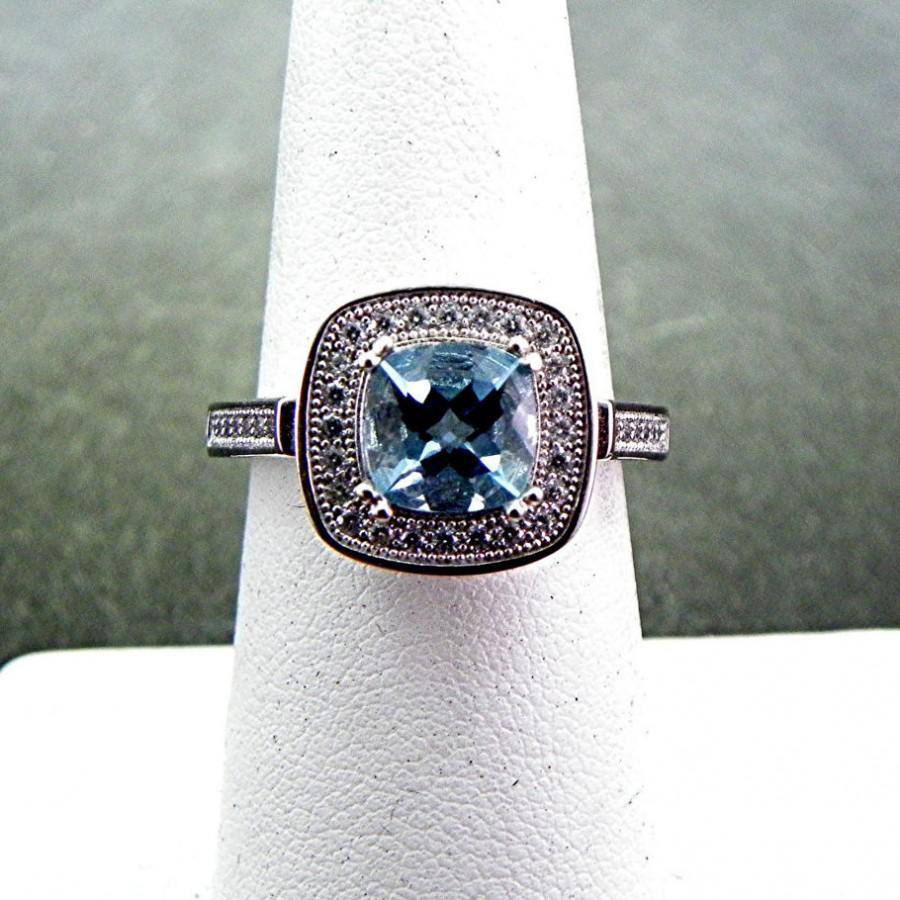Wedding - AAAA Santa Maria Aquamarine 1.35 Carat 7x7mm in 14K White gold diamond (.30) ring.