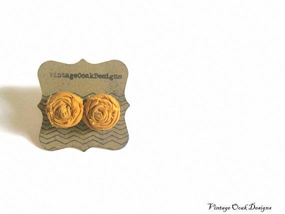 Wedding - caramel mini rosette earrings, caramel flower studs, bridesmaid gifts, fabric flower earrings