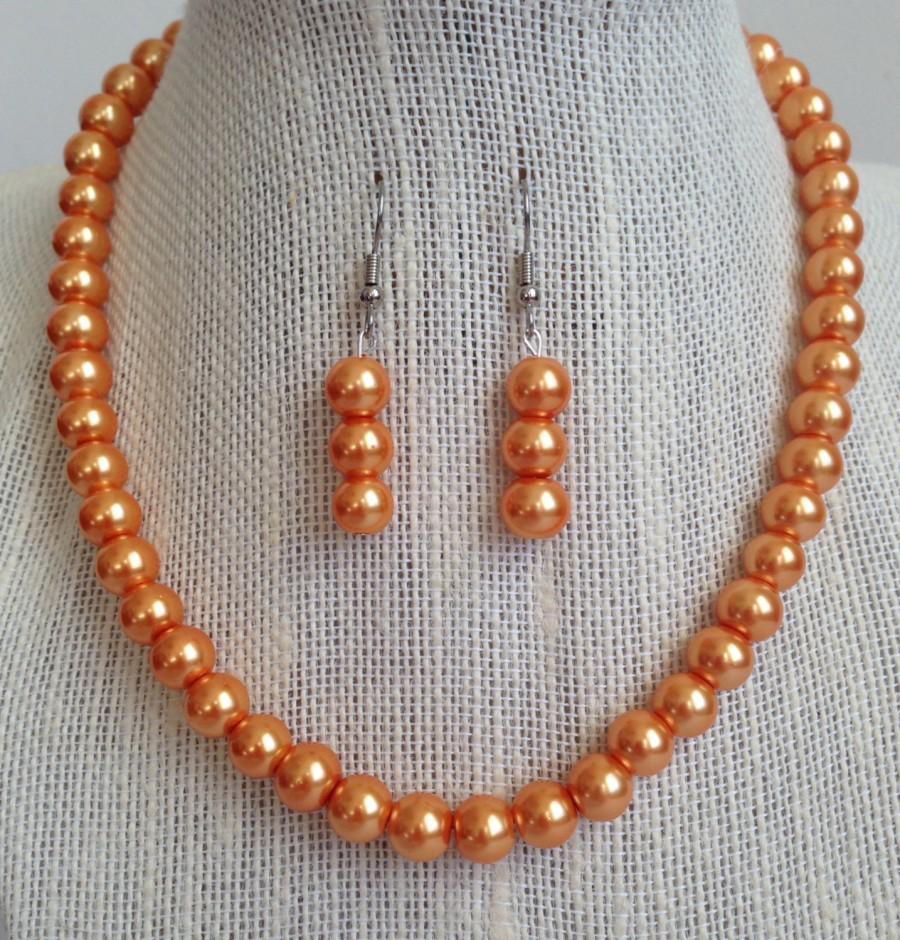 زفاف - Orange Pearl Necklace, Bridesmaid Jewelry, Fall Wedding Jewelry, Orange Wedding, Bridesmaid Gift, Orange Necklace, Orange Jewelry
