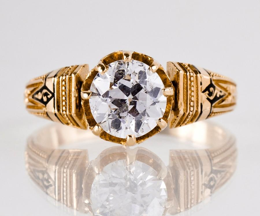 Wedding - Antique Engagement Ring - Etruscan Diamond Ring - Rose Gold and Diamond Engagement Ring