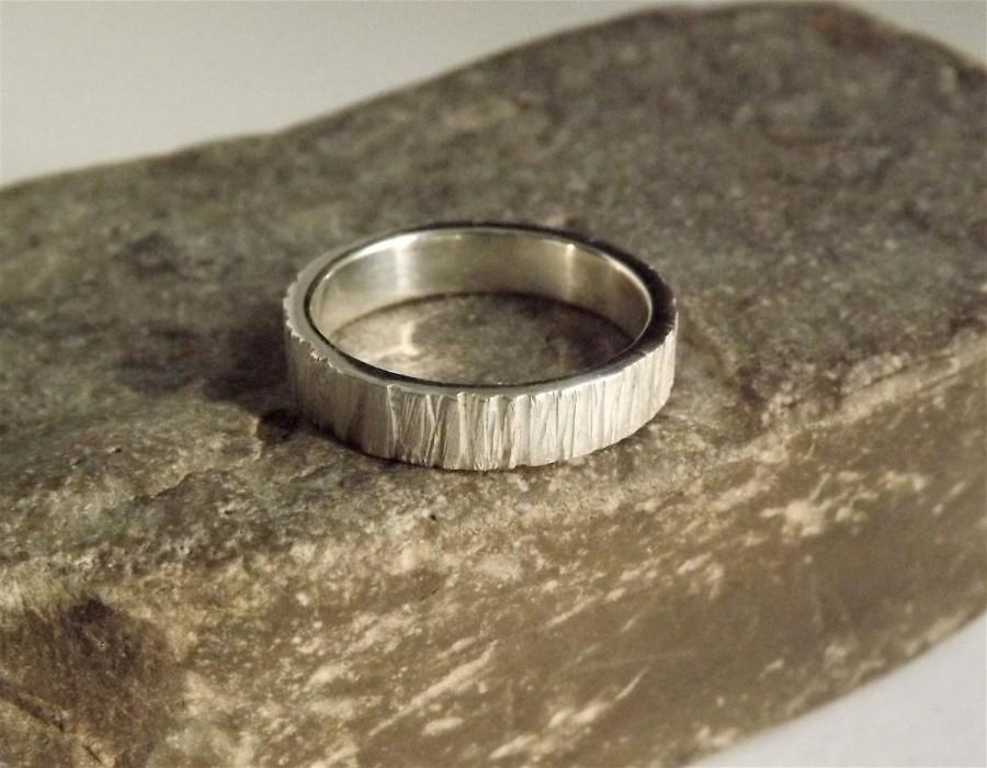 Wedding - Eco Friendly Wedding Band Handcrafted in Recycled Silver with Rough Saw Texture- Promise Ring