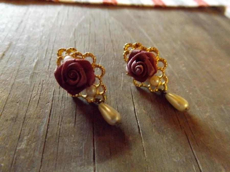 Wedding - Vintage, Golden Rose and pearl earrings