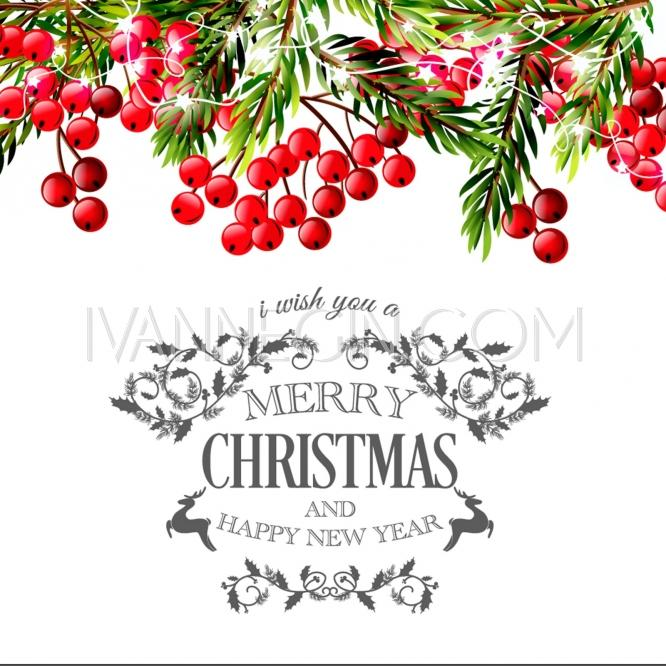 Merry Christmas And Hy New Year Invitation Template Gift Box Lights Garland Pine Tree Unique Vector Ilrations Cards
