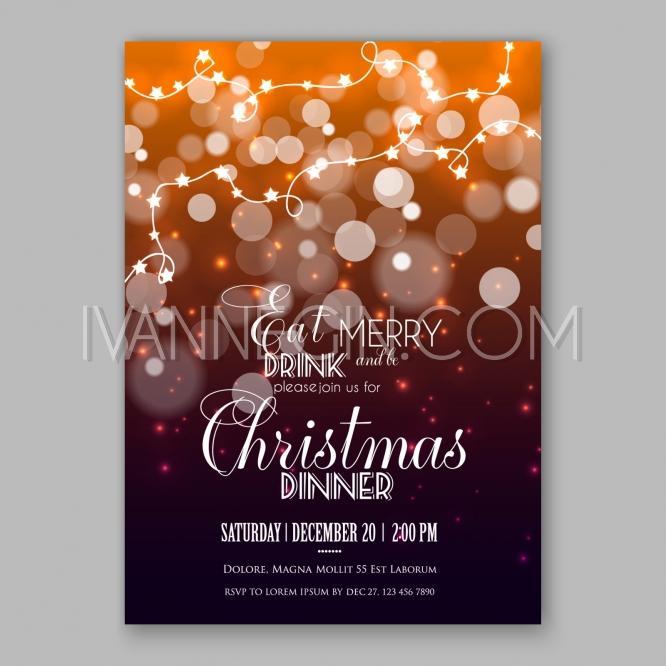 زفاف - Christmas Glowing Lights. Merry Christmas and Happy New Year Card Xmas Decorations Snowflake - Unique vector illustrations, christmas cards, wedding invitations, images and photos by Ivan Negin